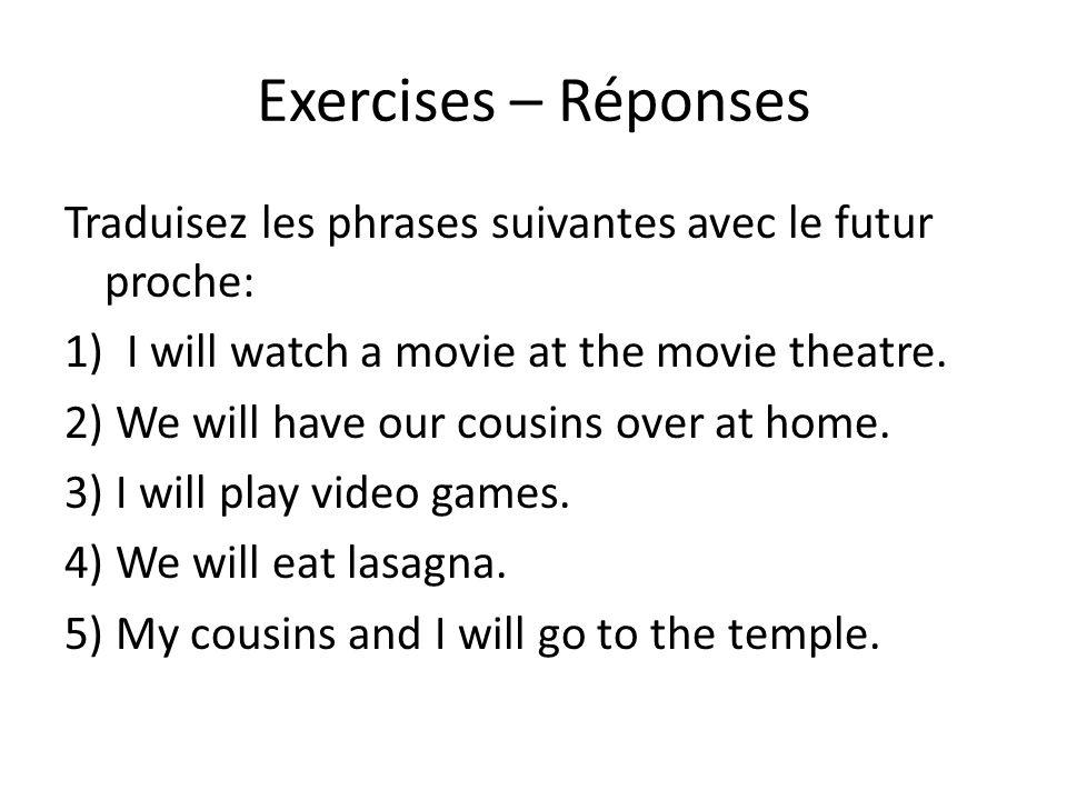 Exercises – Réponses