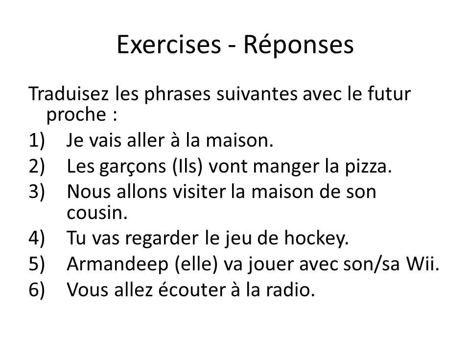 Exercises - Réponses Traduisez les phrases suivantes avec le futur proche : Je vais aller à la maison.
