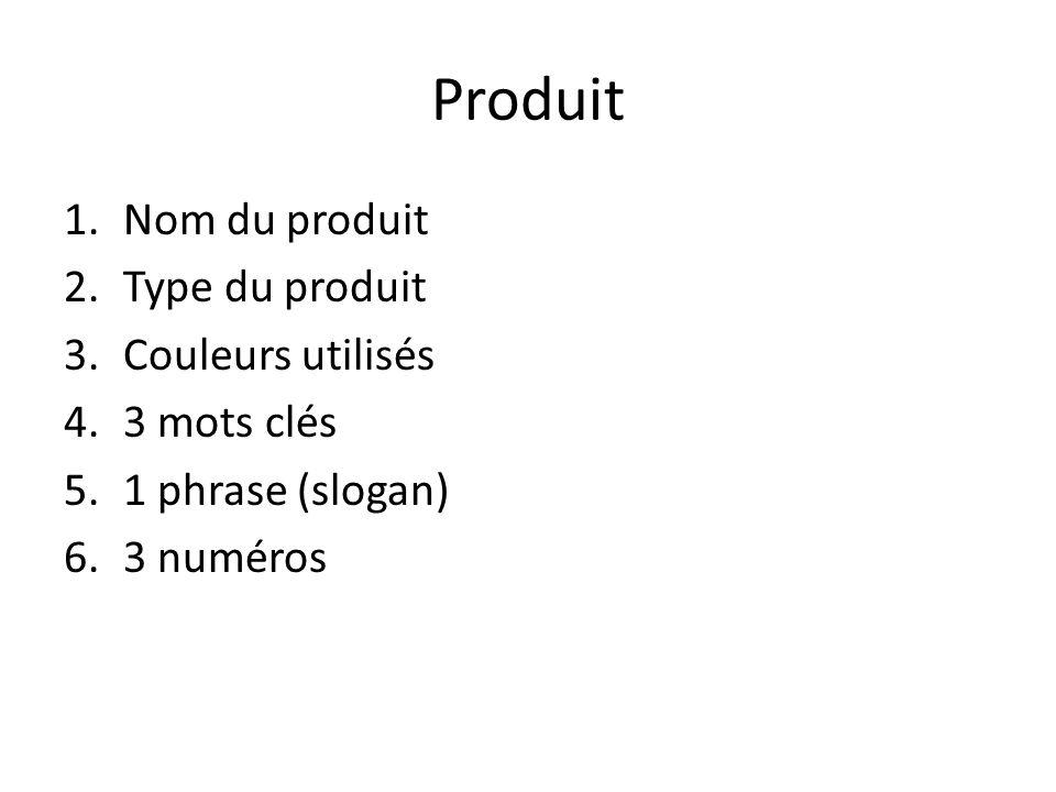Produit Nom du produit Type du produit Couleurs utilisés 3 mots clés