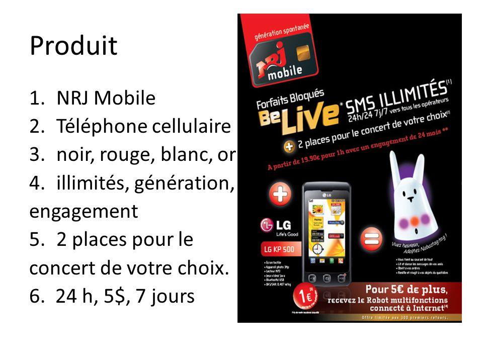 Produit NRJ Mobile Téléphone cellulaire noir, rouge, blanc, or