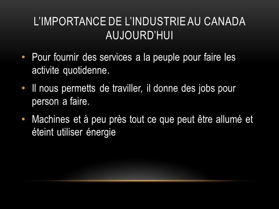 L'importance de l'industrie au Canada aujourd'hui