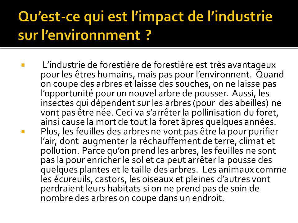 Qu'est-ce qui est l'impact de l'industrie sur l'environnment