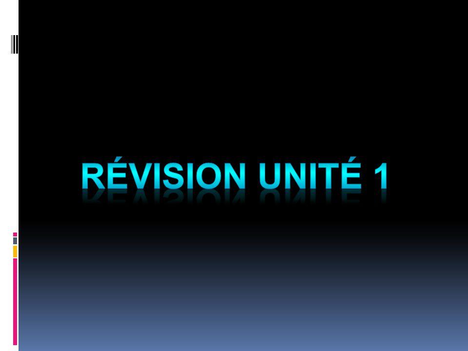 Révision Unité 1