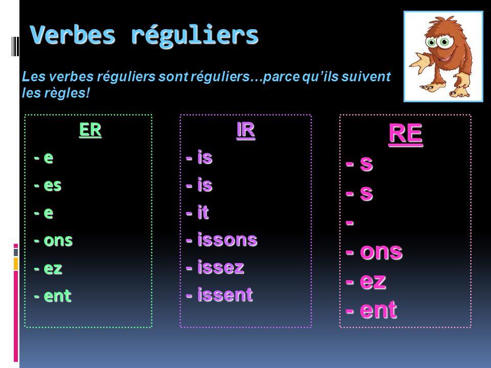 Verbes réguliers RE - s - - ons - ez - ent ER - e - es - ons - ez