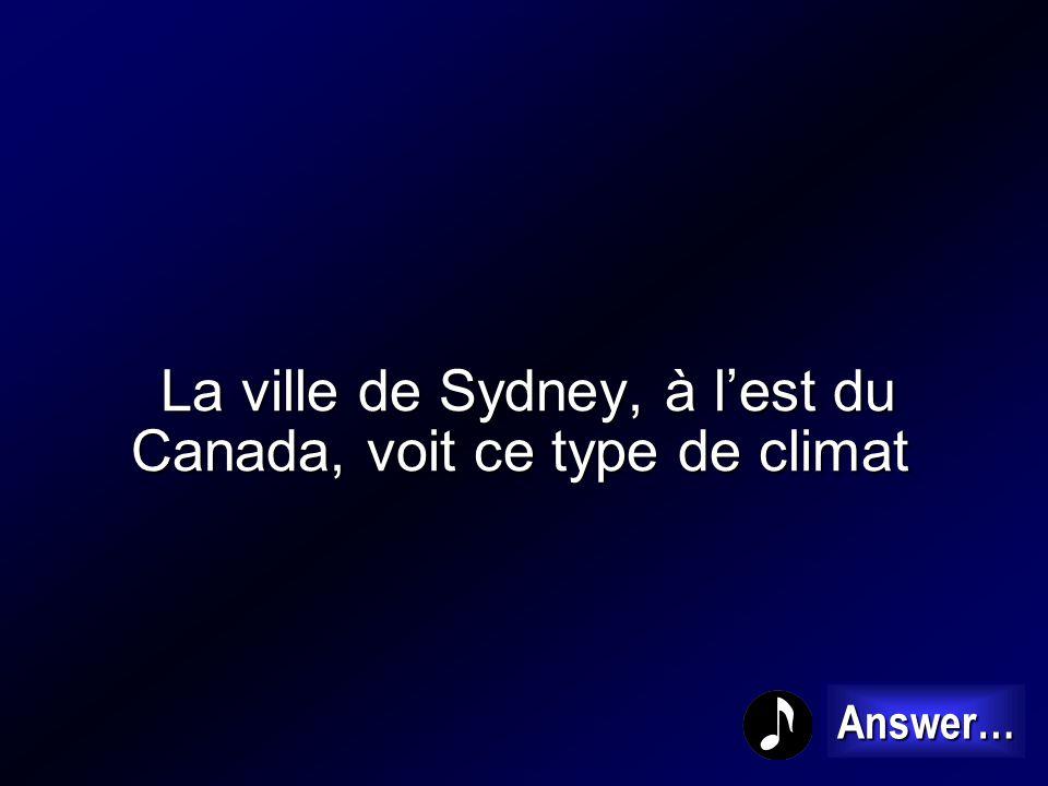 La ville de Sydney, à l'est du Canada, voit ce type de climat