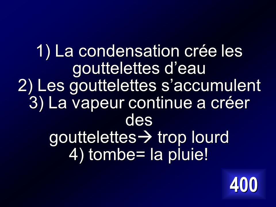 1) La condensation crée les gouttelettes d'eau 2) Les gouttelettes s'accumulent 3) La vapeur continue a créer des gouttelettes trop lourd 4) tombe= la pluie!