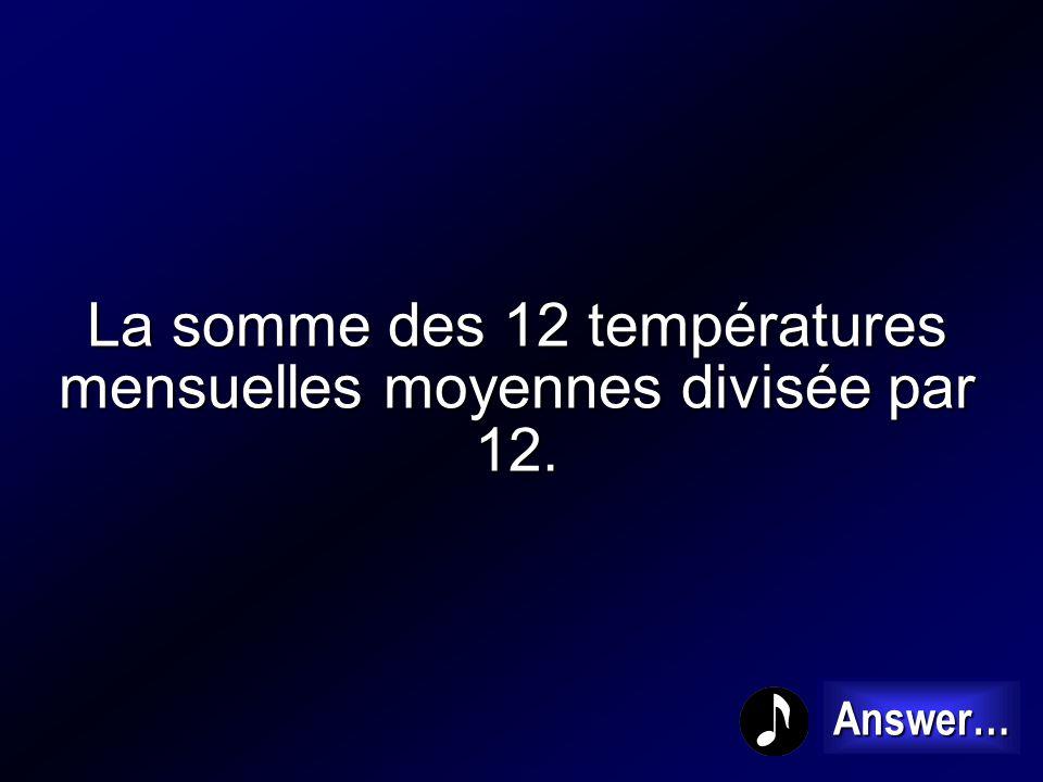 La somme des 12 températures mensuelles moyennes divisée par 12.