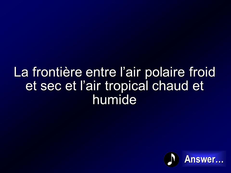 La frontière entre l'air polaire froid et sec et l'air tropical chaud et humide