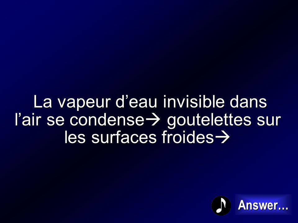 La vapeur d'eau invisible dans l'air se condense goutelettes sur les surfaces froides
