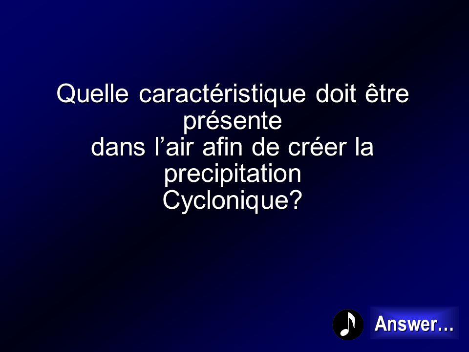 Quelle caractéristique doit être présente dans l'air afin de créer la precipitation Cyclonique