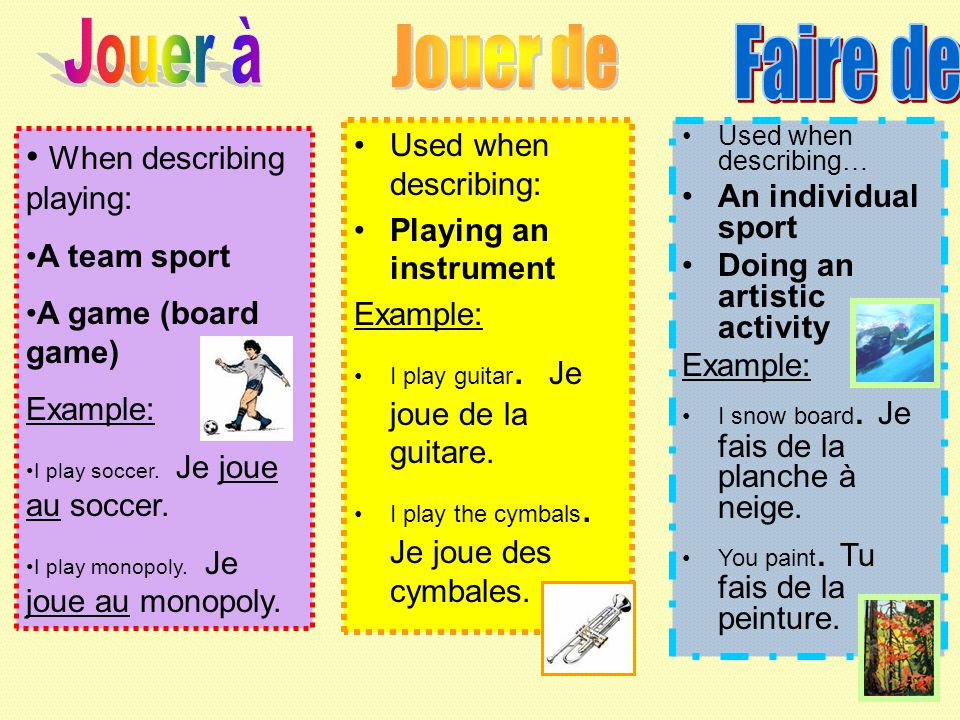 Jouer à Jouer de Faire de When describing playing: