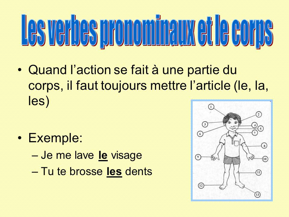 Les verbes pronominaux et le corps