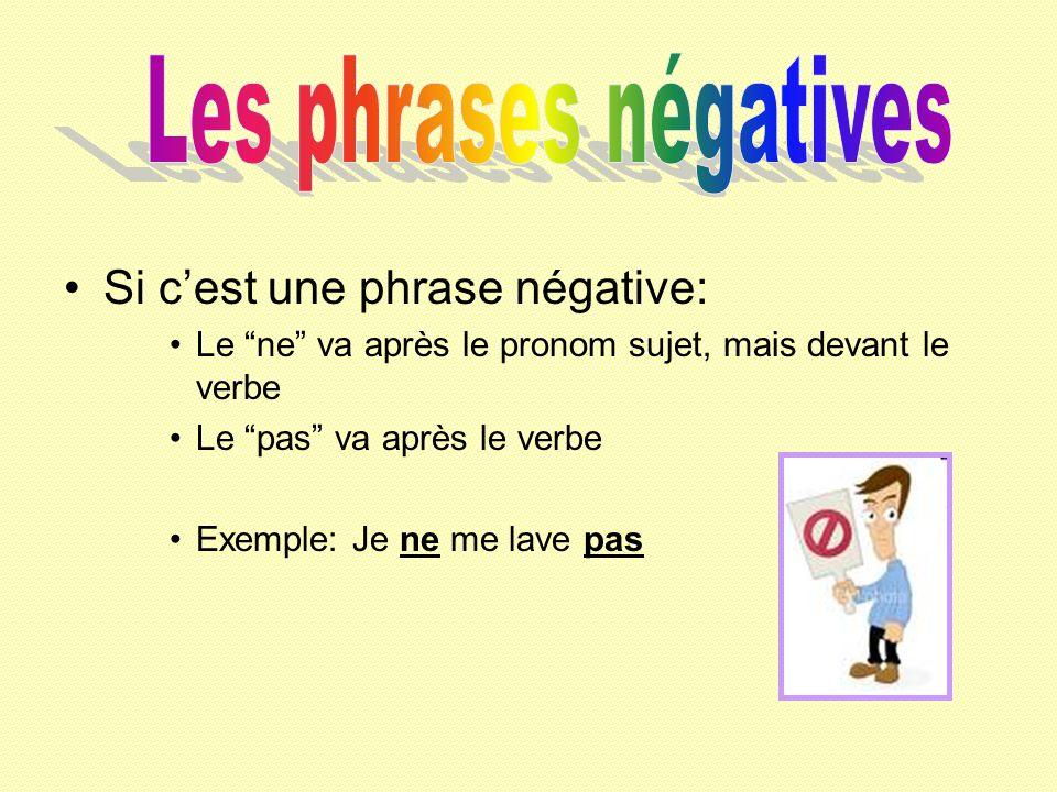 Les phrases négatives Si c'est une phrase négative: