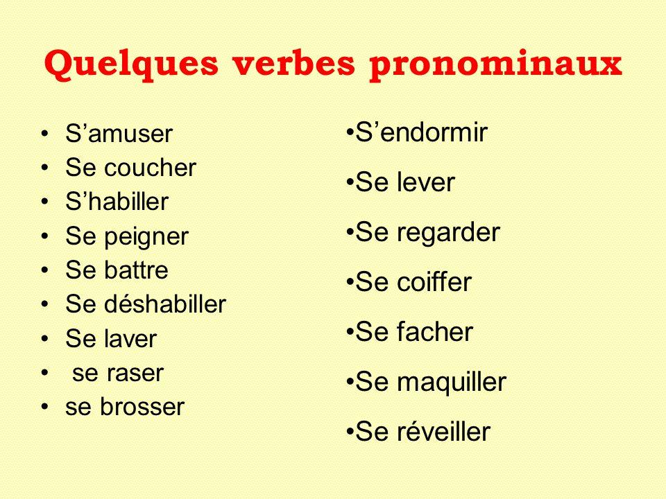 Quelques verbes pronominaux