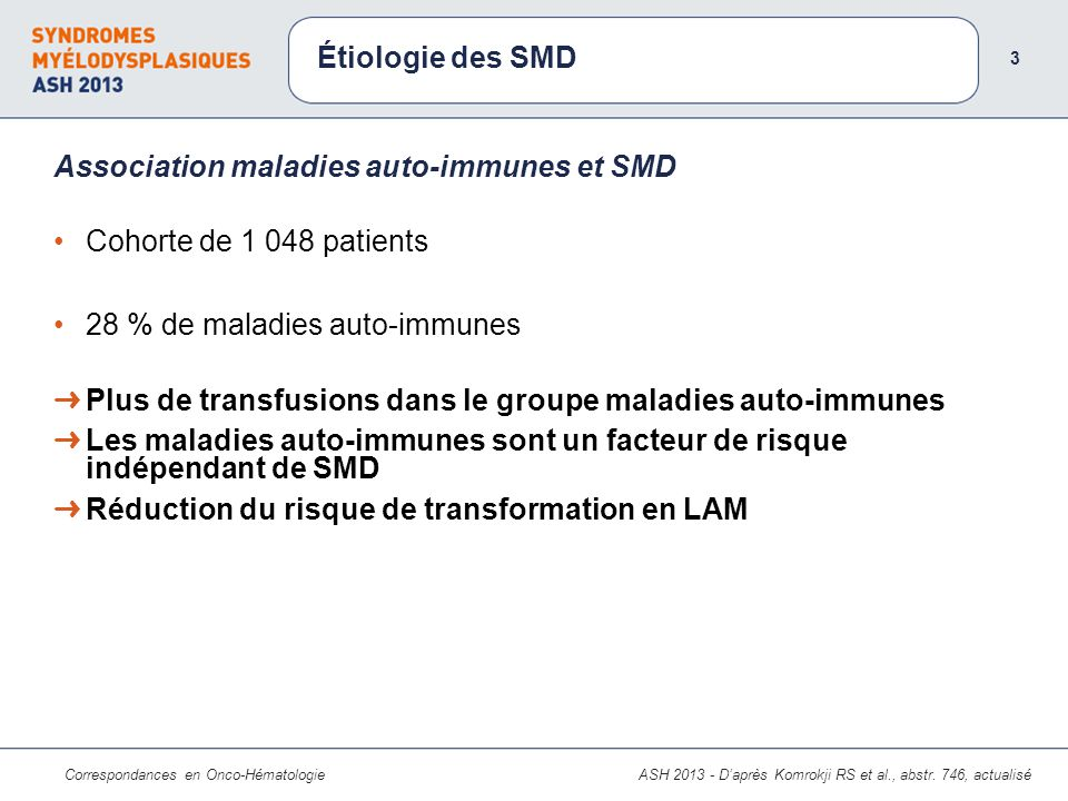 Association maladies auto-immunes et SMD