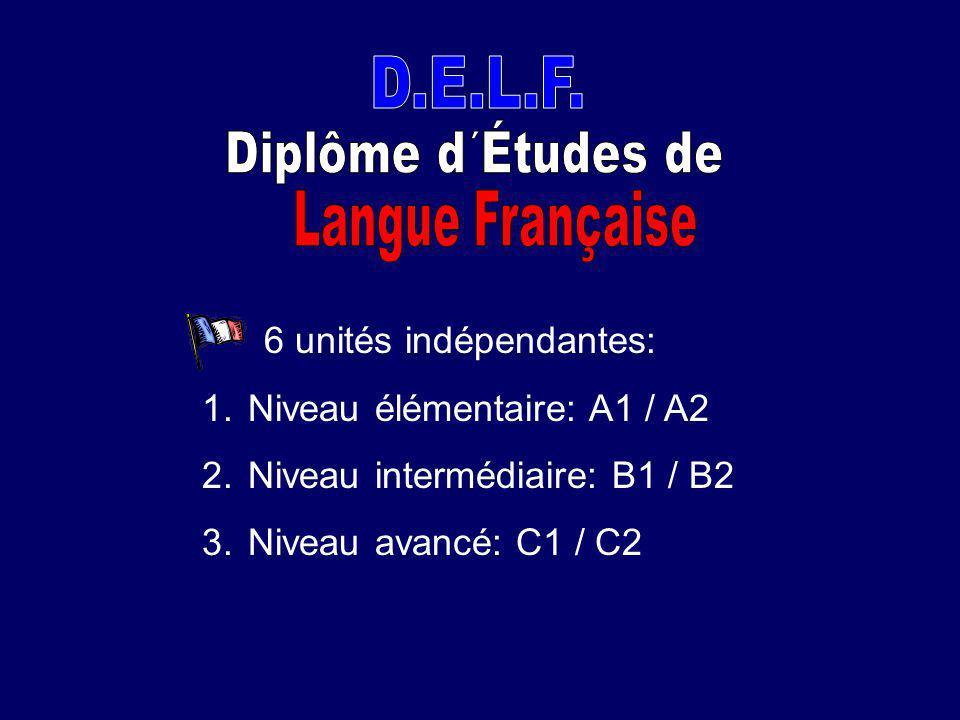 D.E.L.F. Diplôme d´Études de. Langue Française. 6 unités indépendantes: Niveau élémentaire: A1 / A2.
