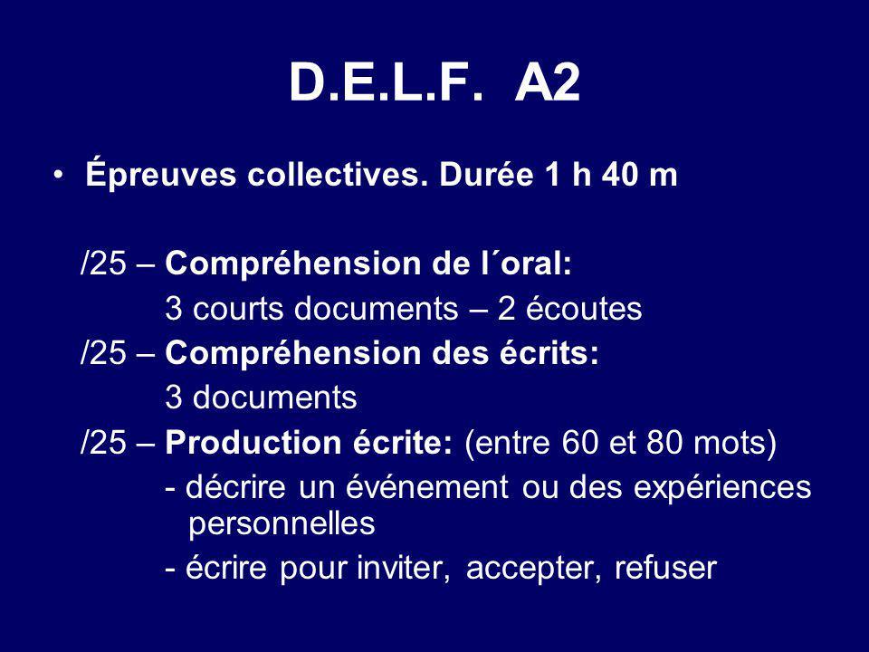 D.E.L.F. A2 Épreuves collectives. Durée 1 h 40 m