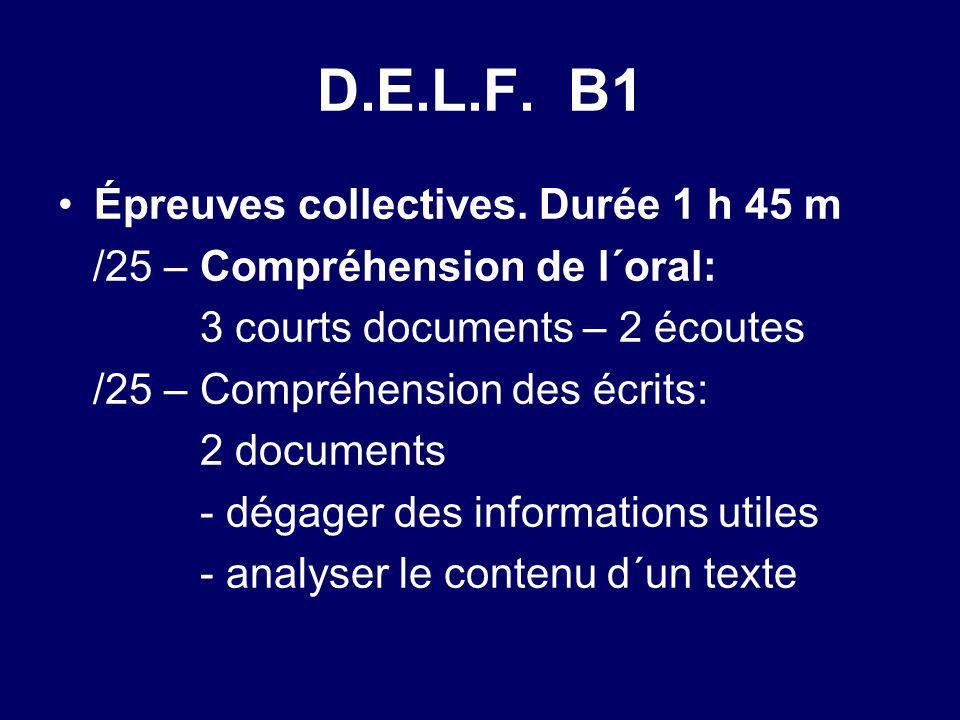 D.E.L.F. B1 Épreuves collectives. Durée 1 h 45 m