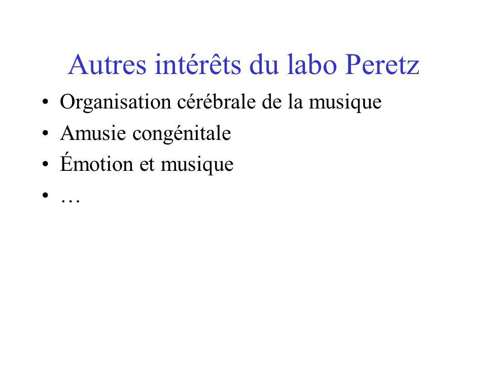Autres intérêts du labo Peretz