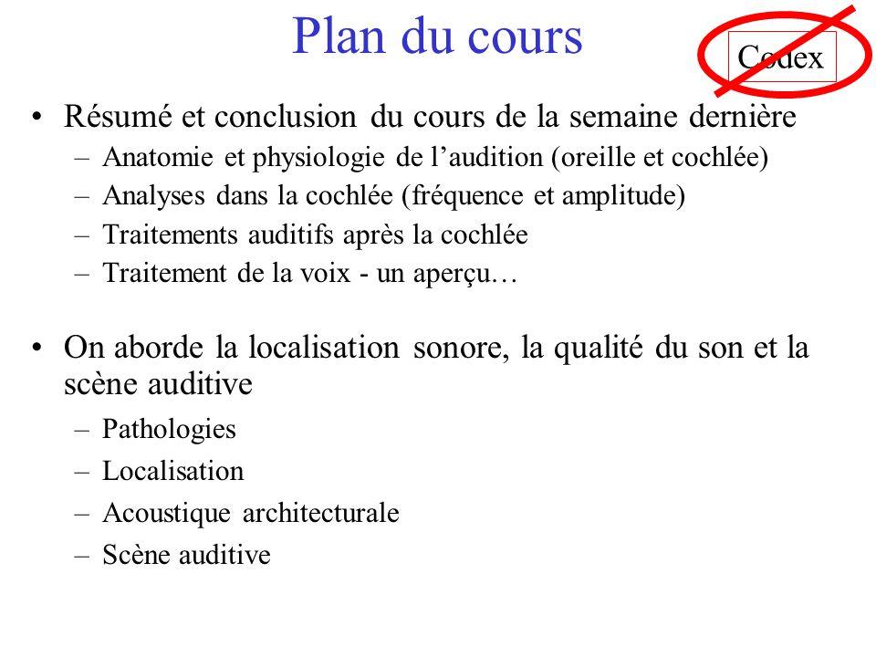 Plan du cours Codex. Résumé et conclusion du cours de la semaine dernière. Anatomie et physiologie de l'audition (oreille et cochlée)