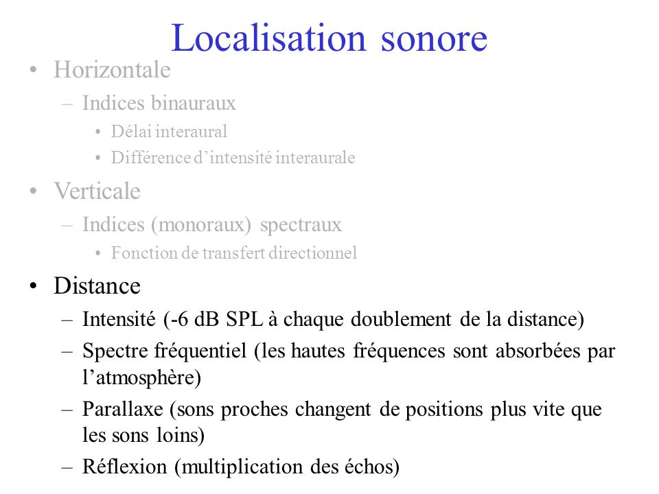 Localisation sonore Horizontale Verticale Distance Indices binauraux