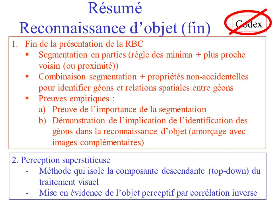 Résumé Reconnaissance d'objet (fin)