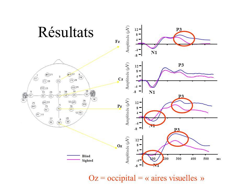 Résultats Oz = occipital = « aires visuelles » P3 N1 P3 N1 P3 N1 P3 N1