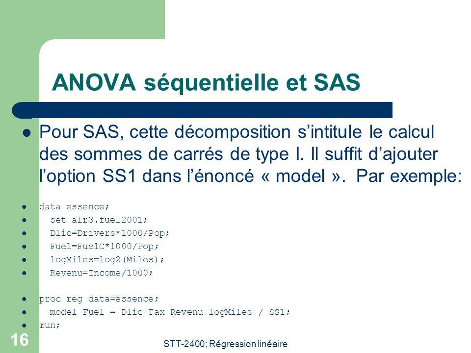 ANOVA séquentielle et SAS