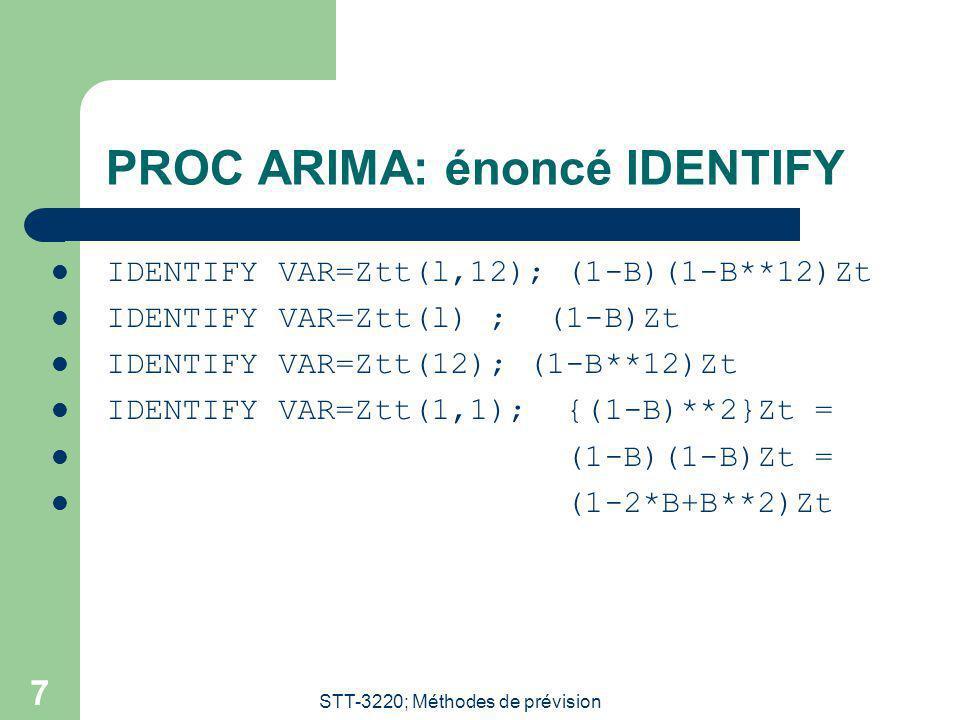PROC ARIMA: énoncé IDENTIFY
