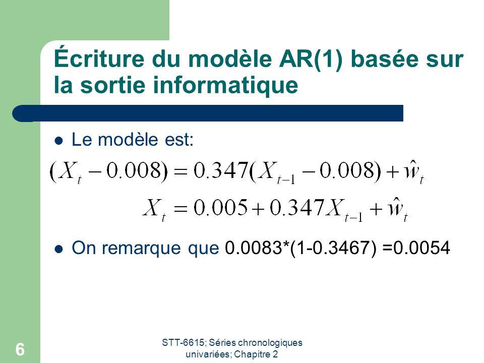 Écriture du modèle AR(1) basée sur la sortie informatique