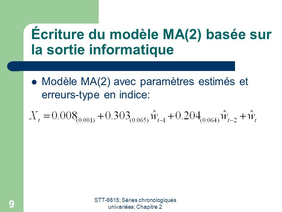 Écriture du modèle MA(2) basée sur la sortie informatique