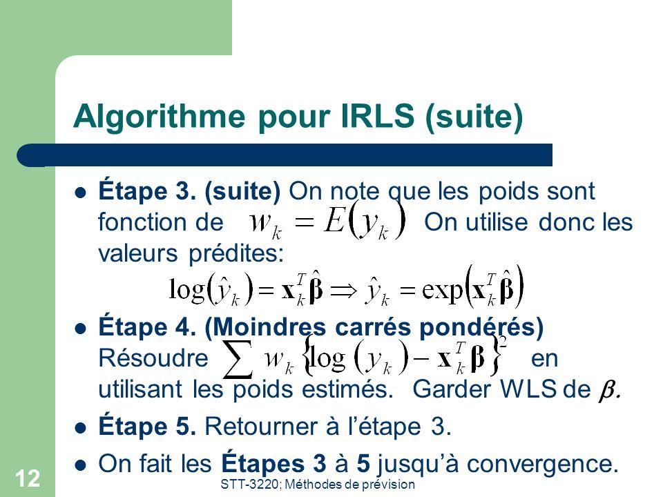 Algorithme pour IRLS (suite)