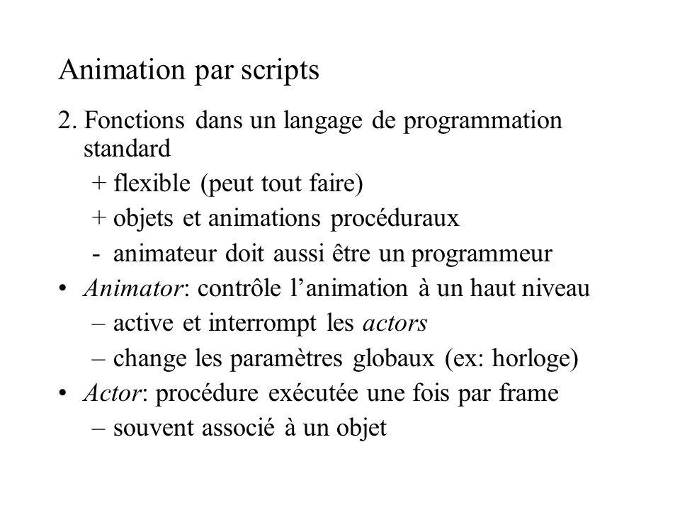 Animation par scripts 2. Fonctions dans un langage de programmation standard. + flexible (peut tout faire)
