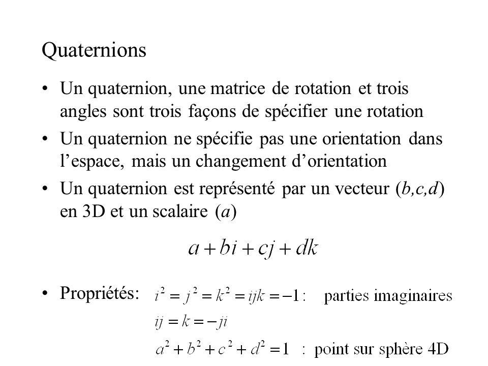 Quaternions Un quaternion, une matrice de rotation et trois angles sont trois façons de spécifier une rotation.