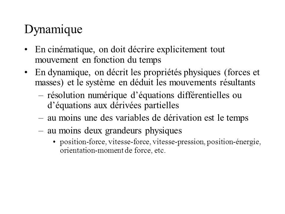Dynamique En cinématique, on doit décrire explicitement tout mouvement en fonction du temps.