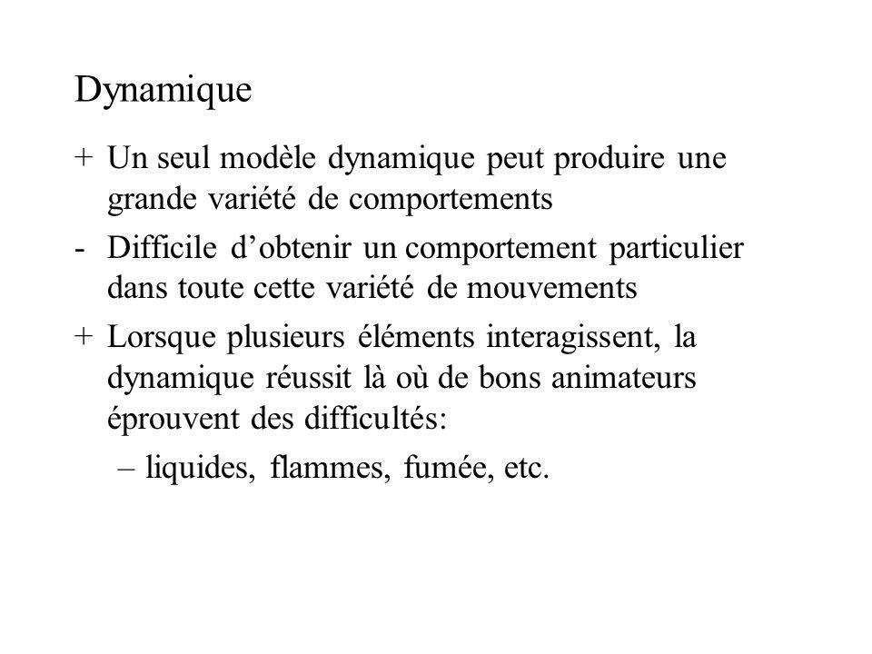 Dynamique + Un seul modèle dynamique peut produire une grande variété de comportements.