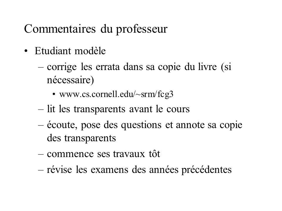 Commentaires du professeur