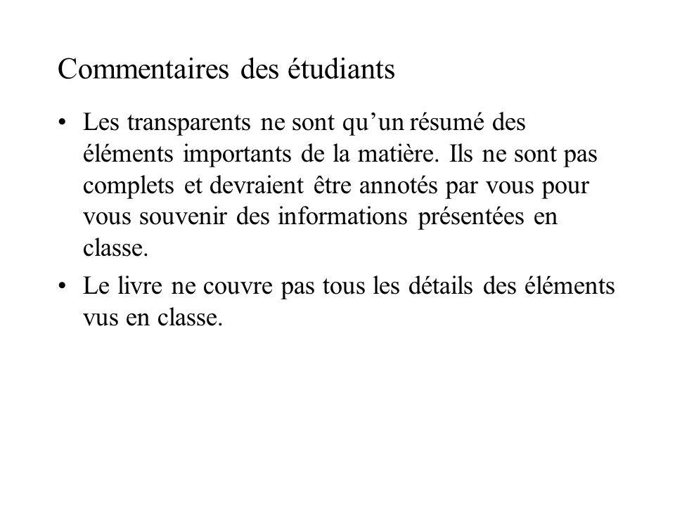 Commentaires des étudiants
