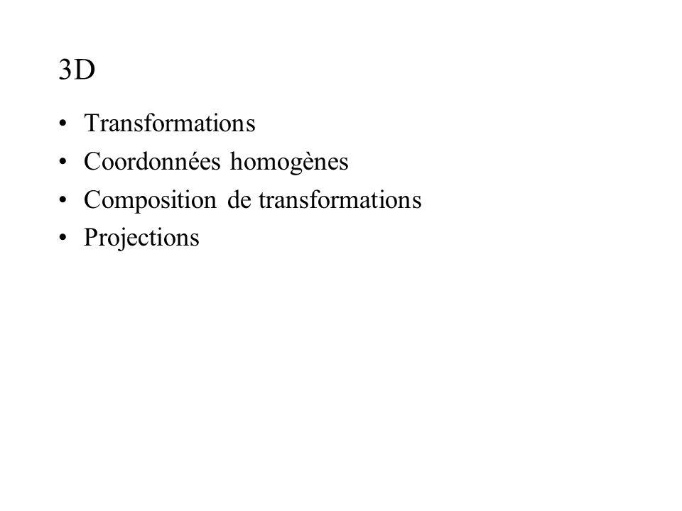 3D Transformations Coordonnées homogènes