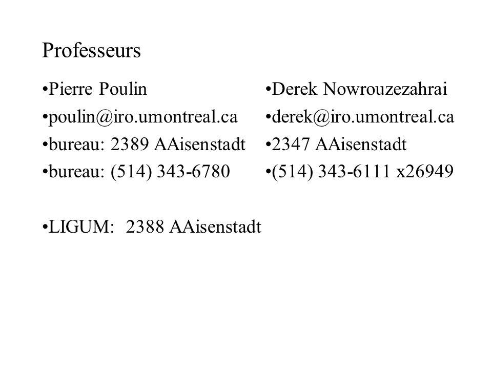 Professeurs Pierre Poulin poulin@iro.umontreal.ca