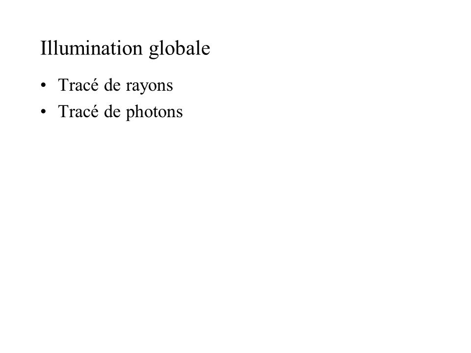 Illumination globale Tracé de rayons Tracé de photons