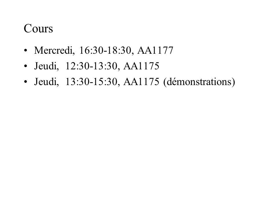 Cours Mercredi, 16:30-18:30, AA1177 Jeudi, 12:30-13:30, AA1175
