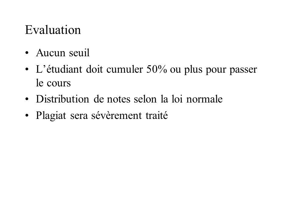 Evaluation Aucun seuil