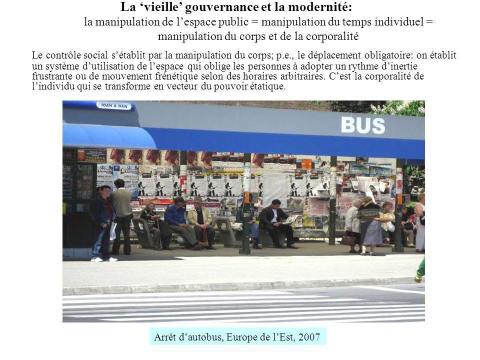 La 'vieille' gouvernance et la modernité: la manipulation de l'espace public = manipulation du temps individuel = manipulation du corps et de la corporalité