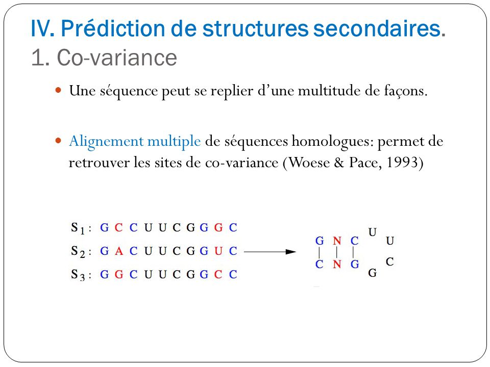 IV. Prédiction de structures secondaires. 1. Co-variance