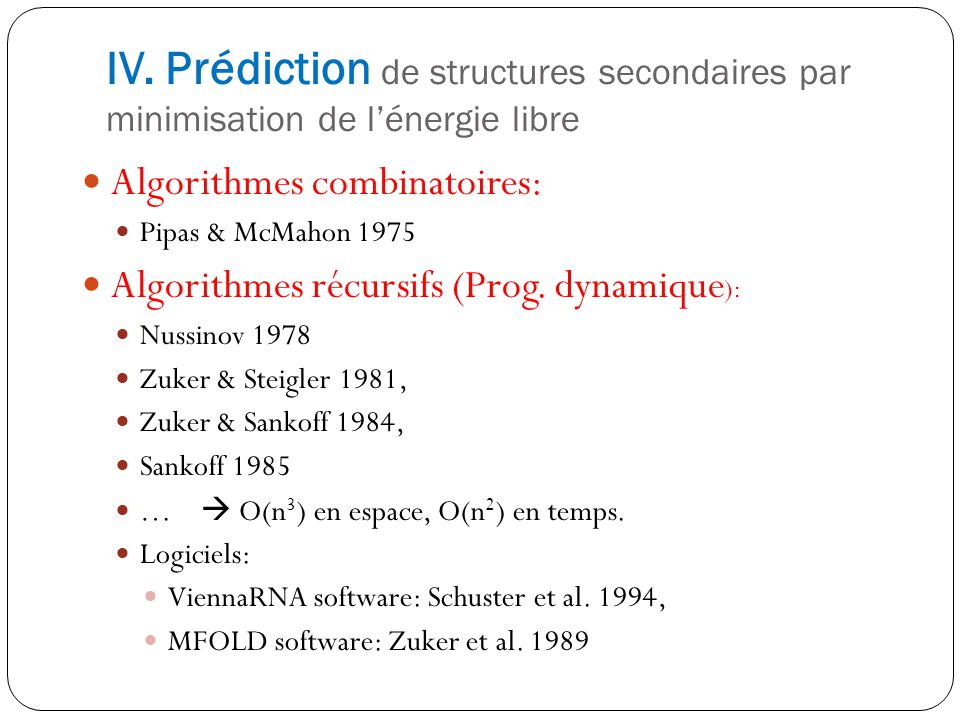 IV. Prédiction de structures secondaires par minimisation de l'énergie libre