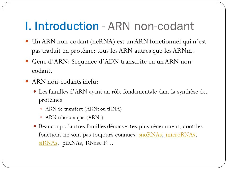 I. Introduction - ARN non-codant