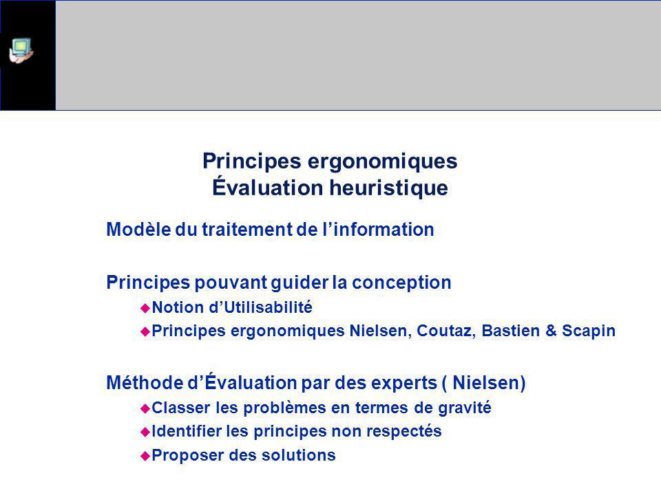 Principes ergonomiques Évaluation heuristique