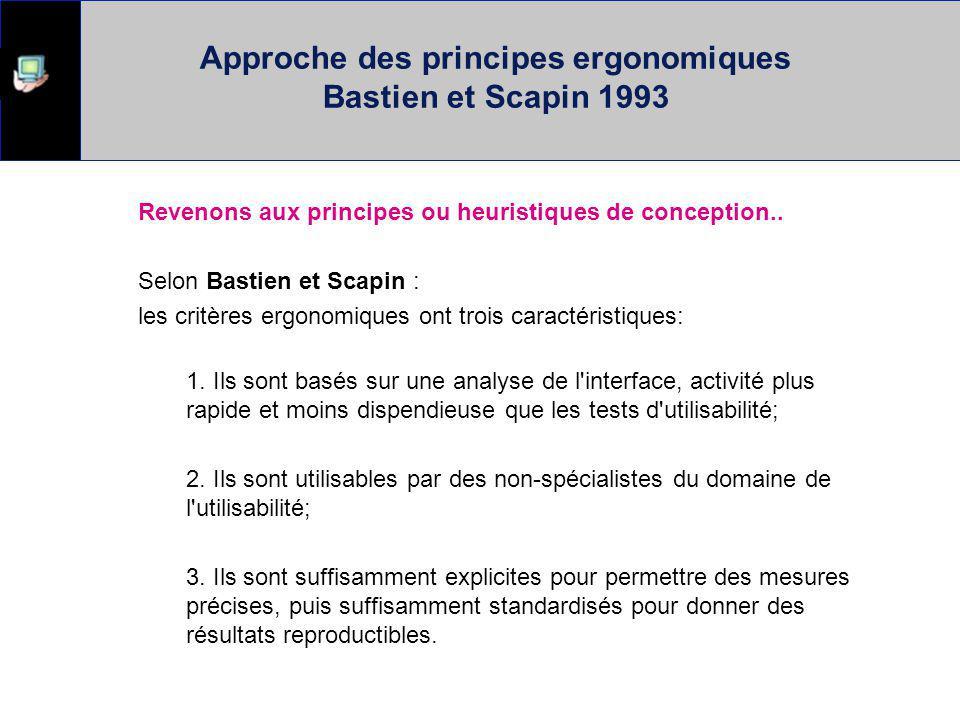 Approche des principes ergonomiques Bastien et Scapin 1993