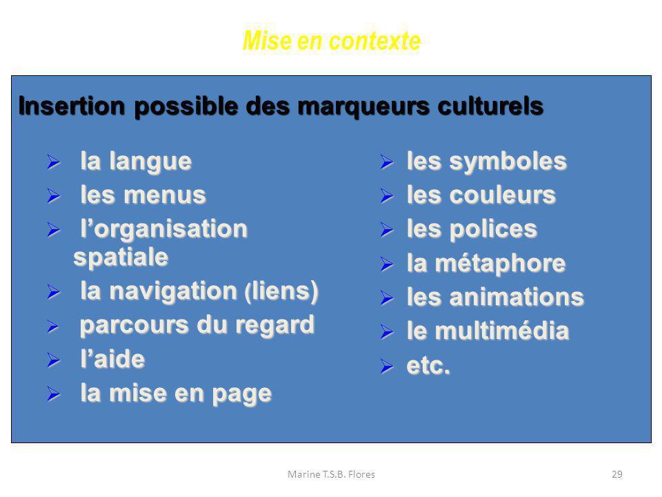 Mise en contexte Insertion possible des marqueurs culturels la langue